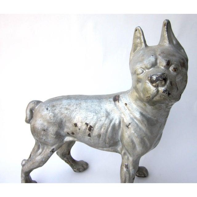 Art Deco 1930s Vintage Cast Iron Boston Terrier Doorstop / Figurine For Sale - Image 3 of 8