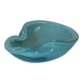 Aqua and Gold Murano Bowl For Sale