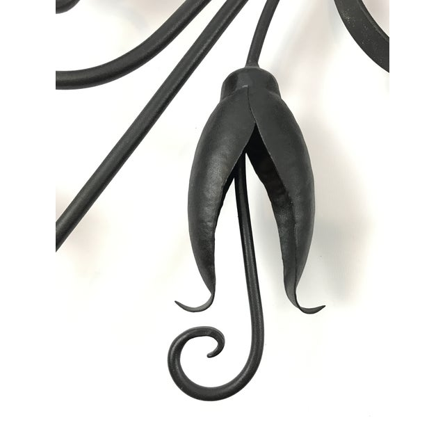 Custom Made Wrought Iron Wall Candelabra - Image 4 of 7