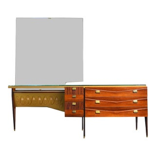 Italian Modern Rosewood + Brass Vanity by Vittorio Dassi