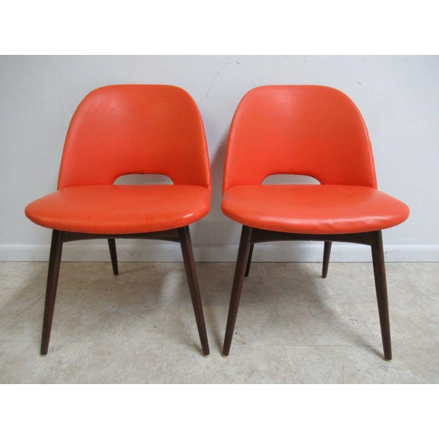 """Pair of Adrian Pearsall Craft Associates Scoop Side Chairs. Seat height 18"""". Nice shape. Some scratches and dents. A few..."""