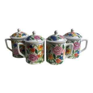 "Lidded ""Springtime"" Ceramic Mugs by Idg - Set of 4 For Sale"