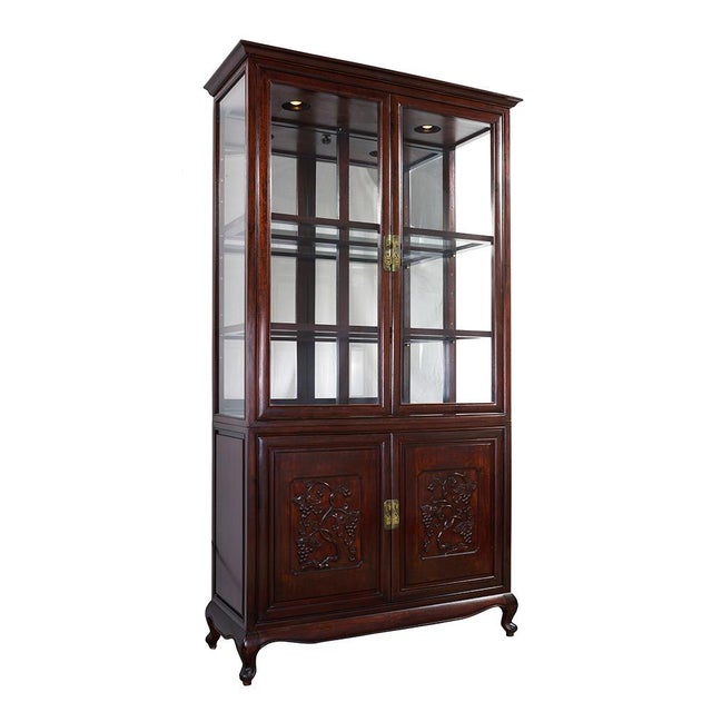 Look at this Chinese Antique Rosewood Curio Cabinet. It was made of solid rosewood with beautiful Chinese traditional...