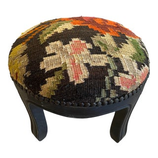 Modern Kilim Upholstery Round Footstool For Sale