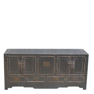 1940s Asian Antique 5-Drawer Black Sideboard For Sale