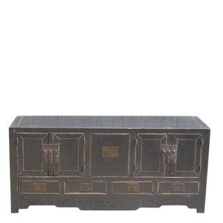 1940s Asian Antique 5-Drawer Black Sideboard