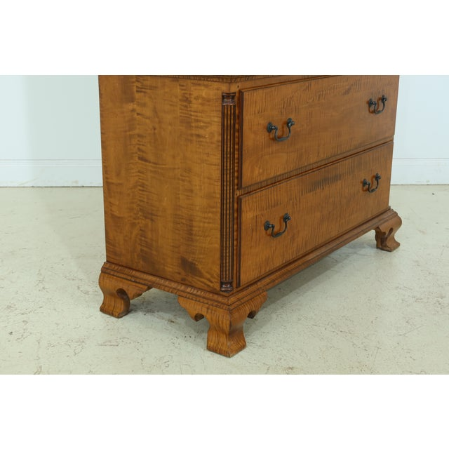 Brown Benchmade Tiger Maple Linen Press Armoire Cabinet For Sale - Image 8 of 13