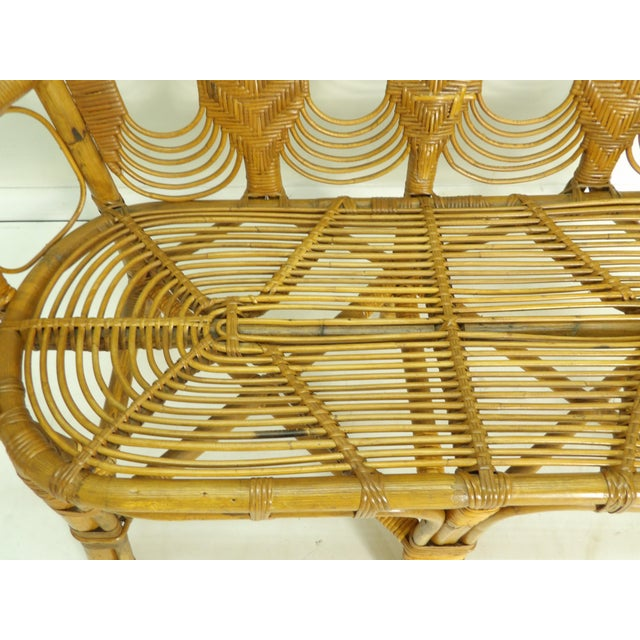 Vintage Boho Chic Rattan Settee For Sale - Image 4 of 8