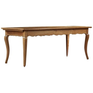 French, Louis XV Style Fruitwood Farm Table on Cabriole Legs, 19th Century For Sale