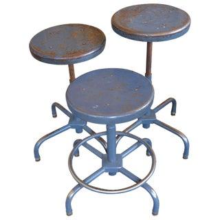 Industrial Adjustable Adjusto Steel Counter or Table Stools - Set of 3