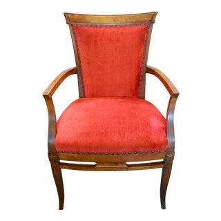 Red Upholstered Nailhead Arm Chair For Sale
