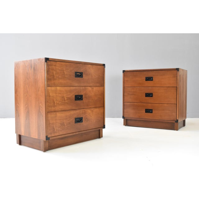 Drexel Mid- Century Campaign Style Chests by Drexel - a Pair For Sale - Image 4 of 13