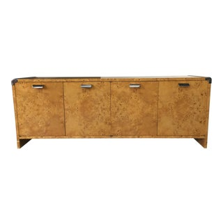 Mid Century Burl Wood and Chrome Dresser