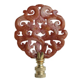Asian Scrolled Stone Lamp Finial on Brass Hardware For Sale