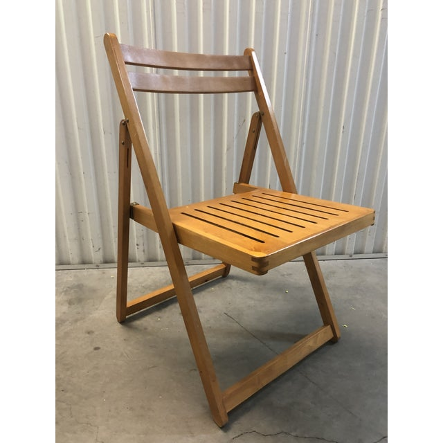 1960s Vintage Danish Romanian Wood Folding Dining Chair For Sale - Image 11 of 11