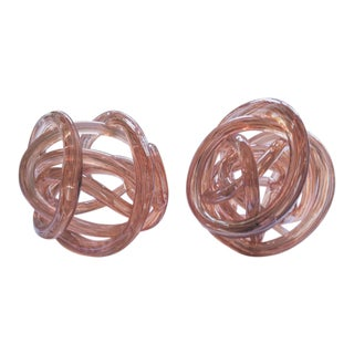 """Murano Blush/Soft Apricot Hand Blown 6"""" Sculptural Glass Knots - a Pair For Sale"""