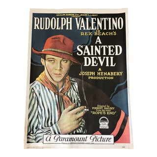"1970s Rudolph-Valentino ""A Sainted Devil"" 1924 Movie Poster Reproduction Lithograph For Sale"