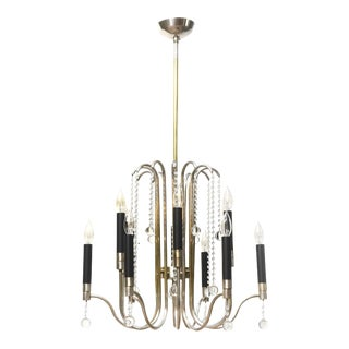 Mid-Century Modern Silver and Crystal Chandelier