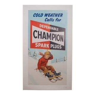 Vintage Champion Spark Plug Poster C.1950 For Sale