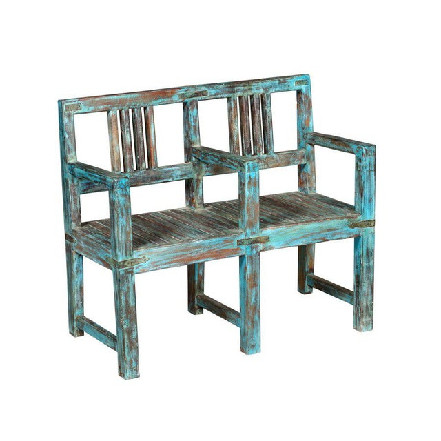 Boho Chic Modern Wide Cute Teakwood Two Seater Bench in Rustic Blue Color For Sale - Image 3 of 3
