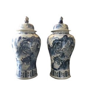 "Mansion Size H. Painted Chinoiserie Ginger Jars - a Pair 47.5"" H"