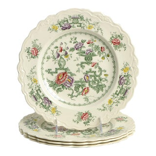 Crown Ducal Chinese Garden Dinner Plate - Set of 4 For Sale