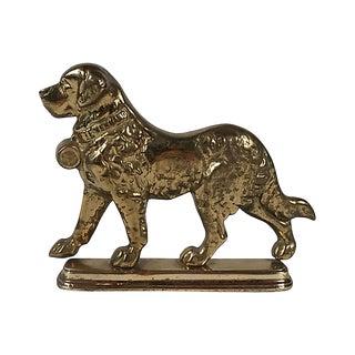 Brass Saint Bernard Doorstop For Sale