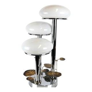 1970s Modern Chrome Mushroom Table Lamp For Sale