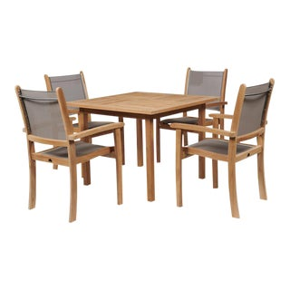 Pearl 5-Piece Teak Square Table Outdoor Dining Set in Taupe For Sale