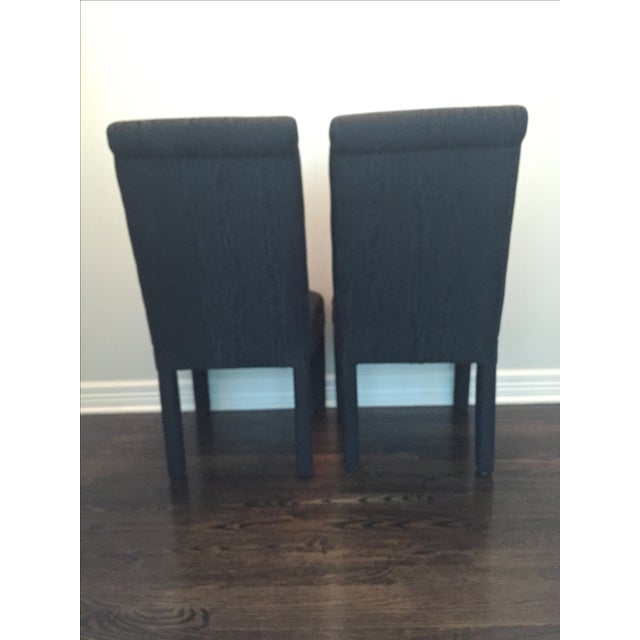Vintage Black Upholstered Parson Chairs - A Pair - Image 4 of 7