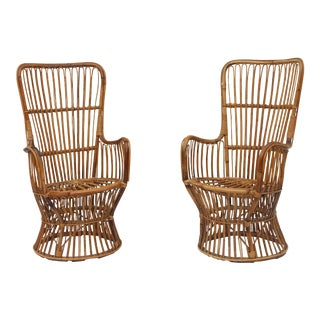 1960s Vintage Bamboo Wicker Boho Chairs- A Pair For Sale