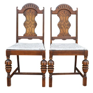 Antique Spanish Style Chairs With Taupe and Brown Upholstered Seat Pair For Sale