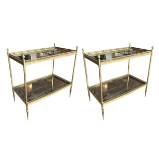 Pair of French Mercury Mirror & Brass 2-Tiered Side Tables For Sale
