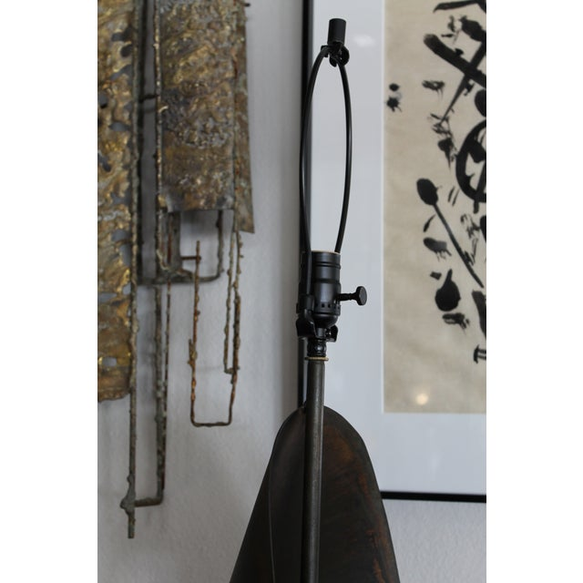 Metal Brutalist Ribbon Cut Lamp by Richard Barr and Harold Weiss for Laurel For Sale - Image 7 of 10