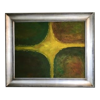 Mid 20th Century Abstract Oil Painting, Signed, Framed For Sale