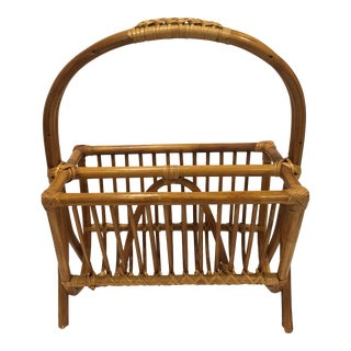 1950s Asian Antique Golden Bamboo Rattan Magazine Rack For Sale