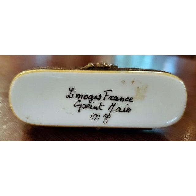 Metal Vintage Limoges Doberman Pinscher Ring Box For Sale - Image 7 of 12