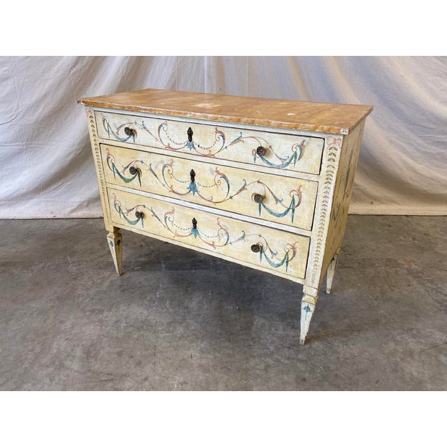 Blue Italian Commode With Hand Painted Designs - 19th C For Sale - Image 8 of 12
