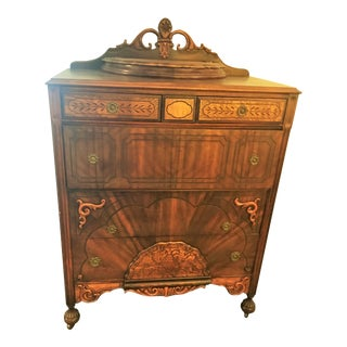 Early 20th Century Victorian Era Intricately Carved Wood Commode For Sale