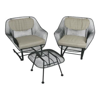 Woodard Sculptura Lounge Chairs & Ottoman - Set of 3 For Sale