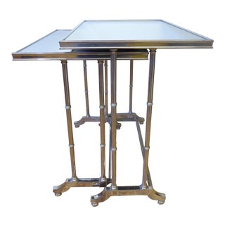 1950s Hollywood Regency Bronze Mirrored Nesting Tables - a Pair For Sale