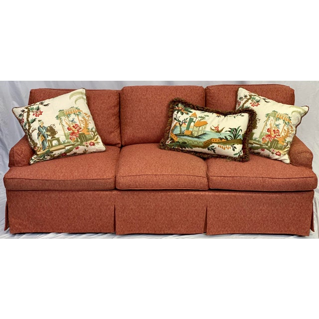 Textile Hickory Chair Dressmaker Sofa With Red Textured Upholstery For Sale - Image 7 of 7