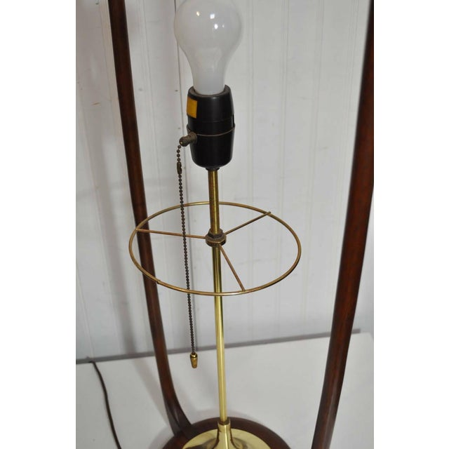 Gold Large Mid-Century Danish Modern Sculpted Teak and Brass Table Lamp by Modeline For Sale - Image 8 of 11