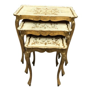 Gold Florentine Nesting Tables - Set of 3