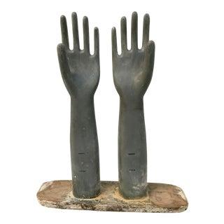 Vintage Wood Industrial Glove Mold Sculpture