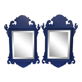 A Pair- Indigo Blue Wooden Chippendale Beveled Mirrors