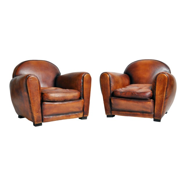 1960s Vintage French Brown Leather Armchairs - a Pair For Sale