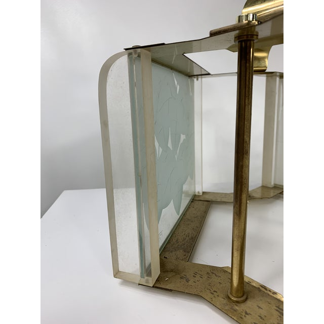 Modern Vintage Modern Fredrick Ramond Brass & Lucite Etched Glass Light Fixture For Sale - Image 3 of 8