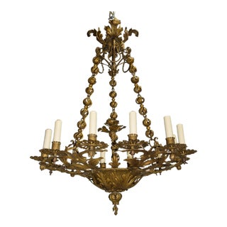 Antique chandelier, gilded iron For Sale