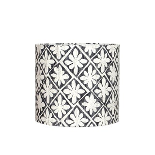 Desta Floral Drum Lamp Shade in Ebony For Sale